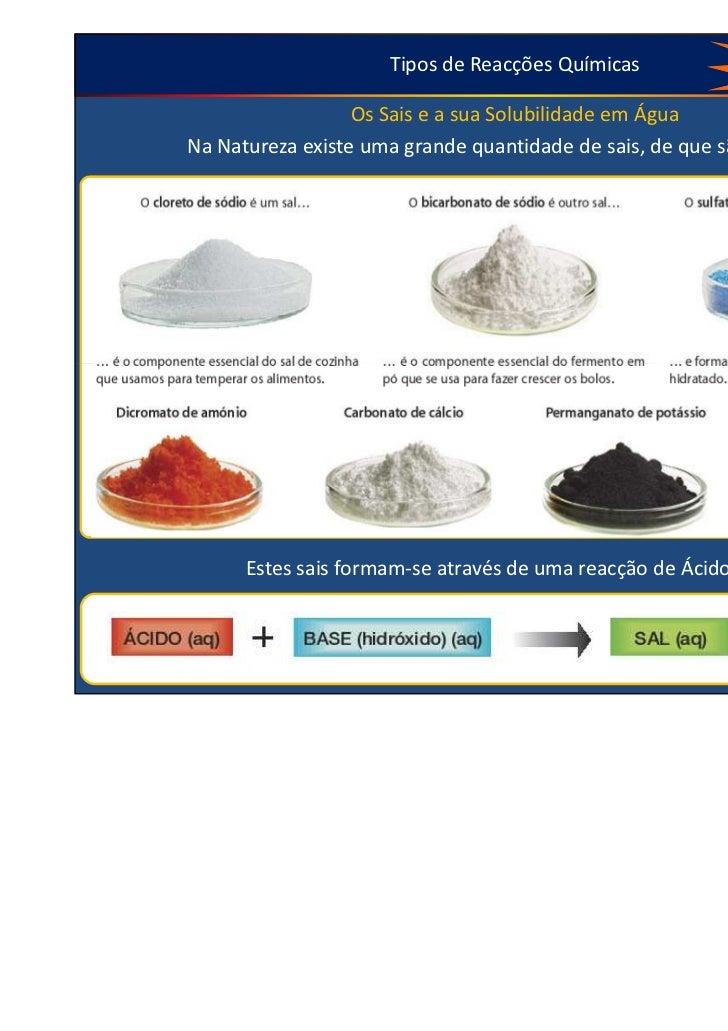 Tipos de Reacções Químicas           Ver no livro página 106 à 110                  Os Sais e a sua Solubilidade em ÁguaNa...