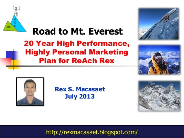 http://rexmacasaet.blogspot.com/ 20 Year High Performance, Highly Personal Marketing Plan for ReAch Rex Road to Mt. Everes...