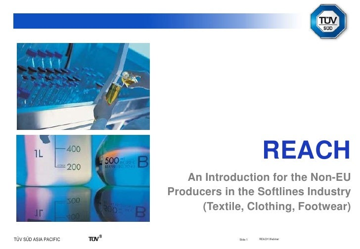 Slide 1<br />REACH<br />An Introduction for the Non-EU Producers in the Softlines Industry<br />(Textile, Clothing, Footw...