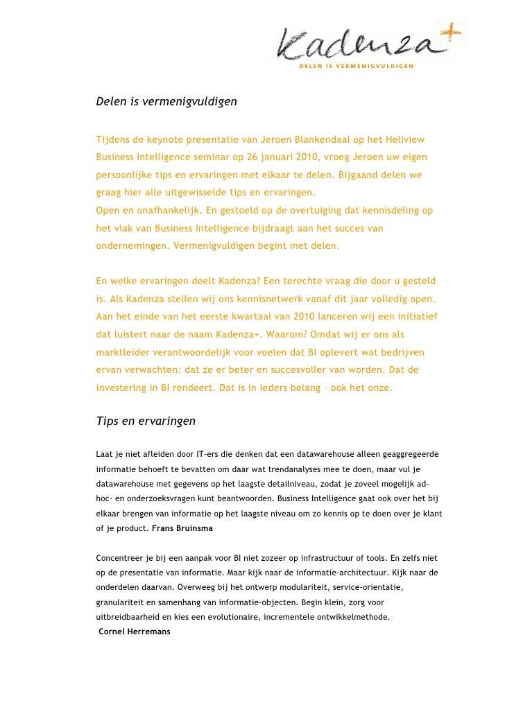 50 Praktijkervaringen die Kadenza verzamelde om Business Intelligence succesvoller te maken.