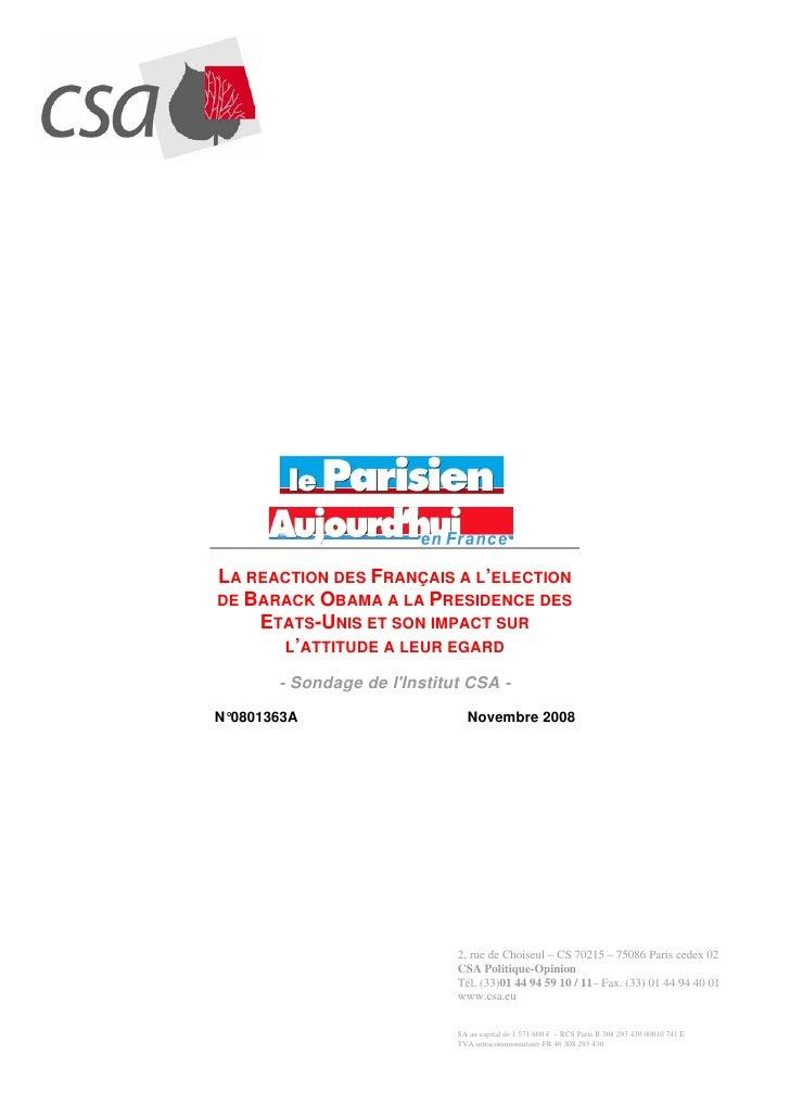 LA REACTION DES FRANÇAIS A L'ELECTION DE BARACK OBAMA A LA PRESIDENCE DES     ETATS-UNIS ET SON IMPACT SUR       L'ATTITUD...