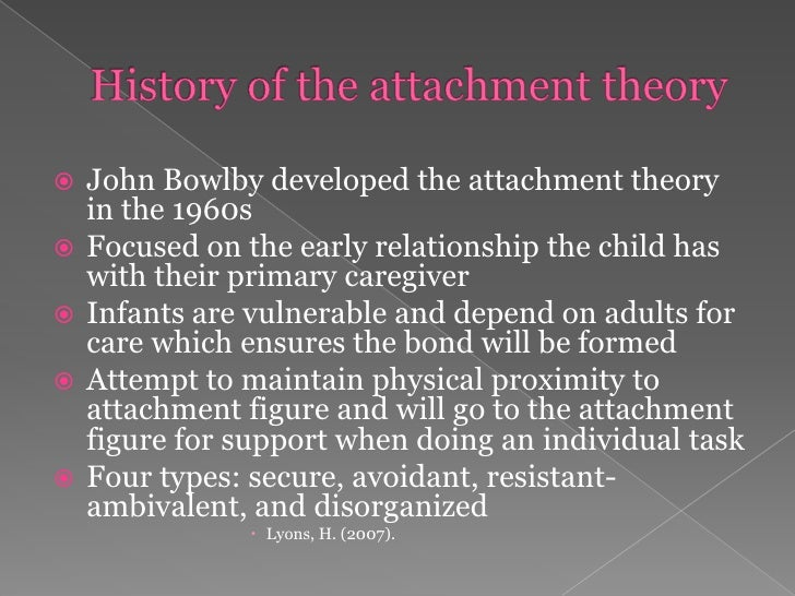 history of attachment theory Attachment style on male to female based on the history of according to pro-feminist theory, male to female domestic violence is due to the patriarchal.