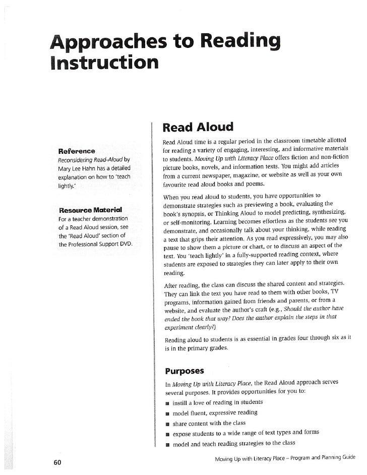 Read aloud literacy place