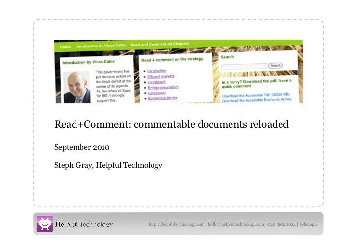 Read+Comment: commentable documents reloaded September 2010 Steph Gray, Helpful Technology