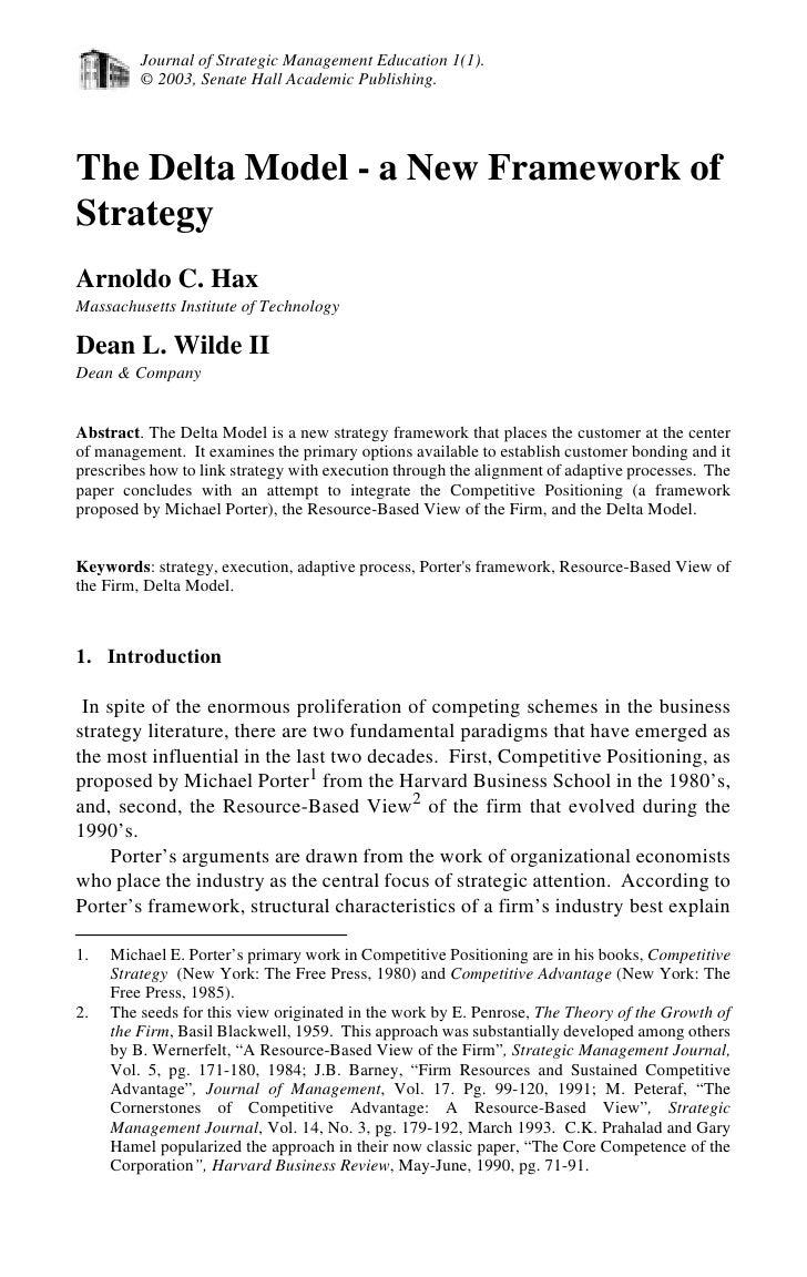 Journal of Strategic Management Education 1(1).          © 2003, Senate Hall Academic Publishing.     The Delta Model - a ...