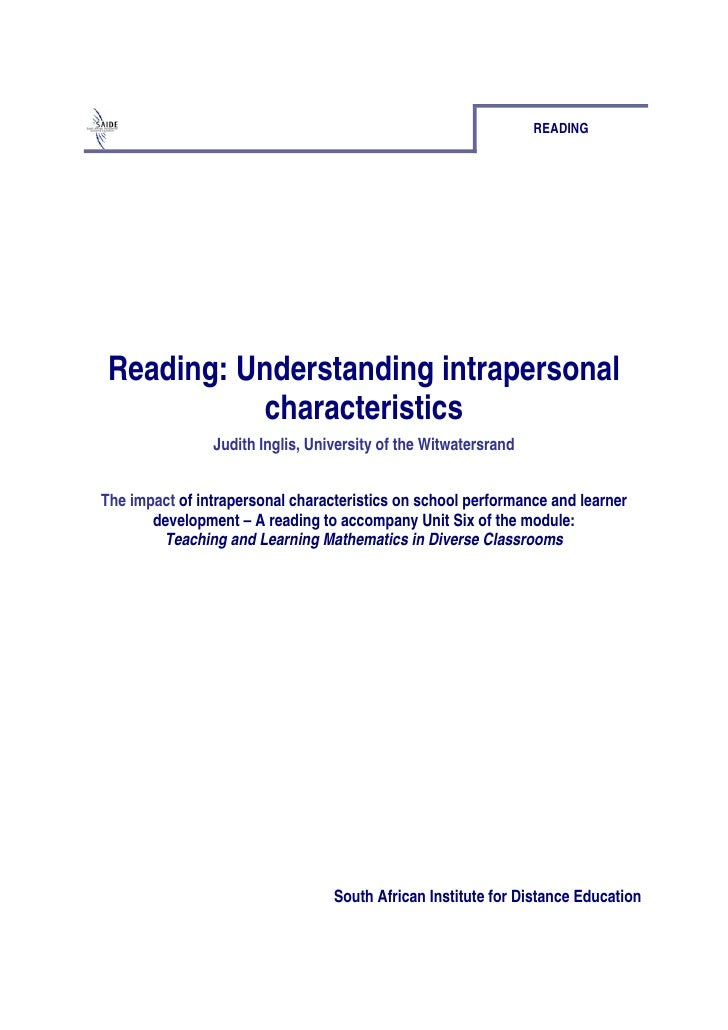READING Reading: Understanding intrapersonal           characteristics                Judith Inglis, University of the Wit...