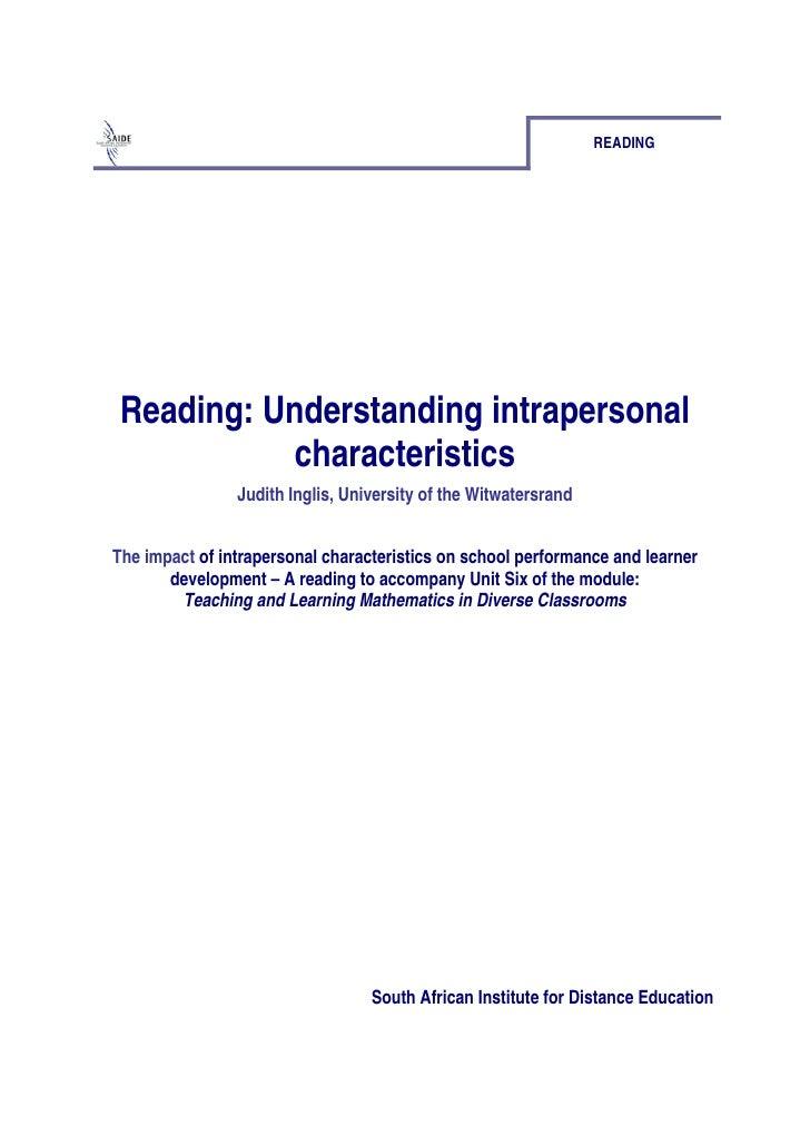 Reading: Understanding Intrapersonal Characteristics (pdf)