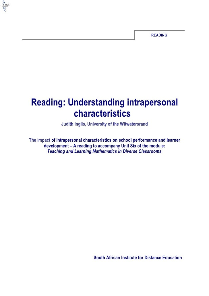 Reading: Understanding Intrapersonal Characteristics (Word)