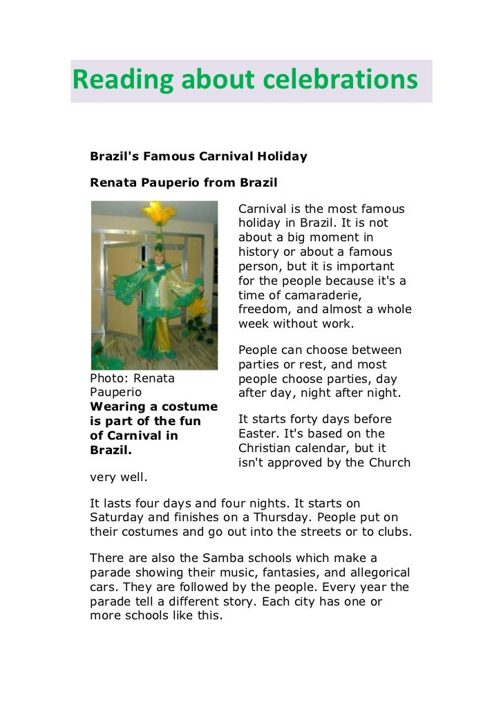 Reading about celebrations Brazils Famous Carnival Holiday Renata Pauperio from Brazil                          Carnival i...