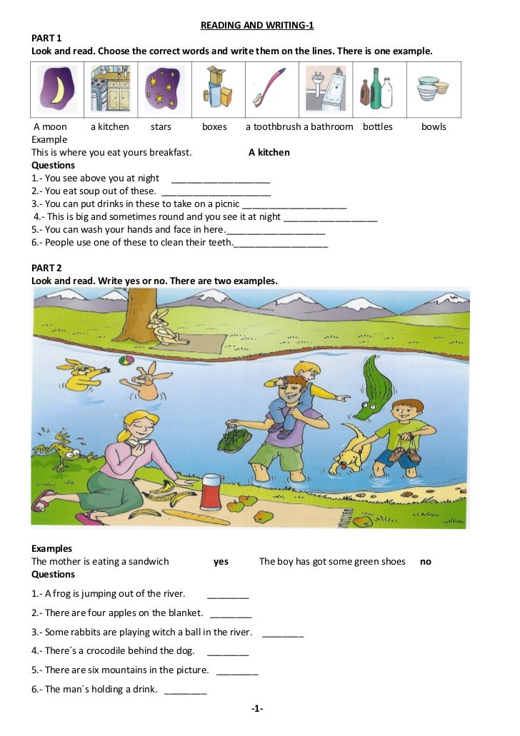 READING AND WRITING-1PART 1Look and read. Choose the correct words and write them on the lines. There is one example.A moo...