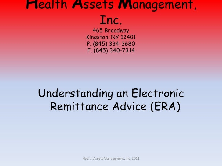 Health Assets Management, Inc.465 BroadwayKingston, NY 12401P. (845) 334-3680F. (845) 340-7314<br />Understanding an Elect...