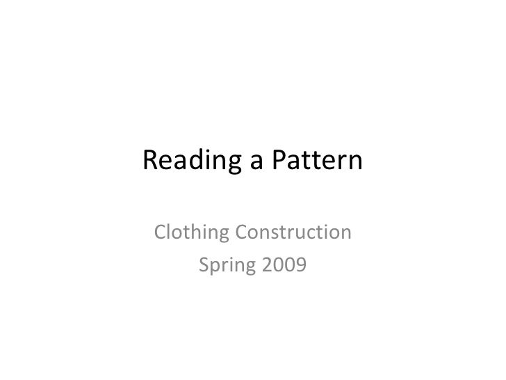 Reading A Pattern