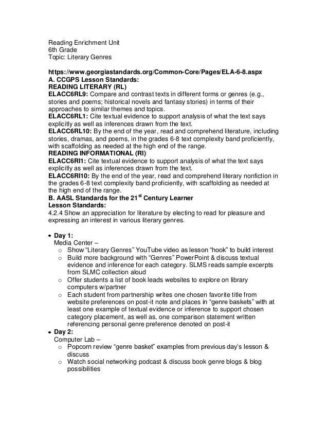 Reading Enrichment Unit6th GradeTopic: Literary Genreshttps://www.georgiastandards.org/Common-Core/Pages/ELA-6-8.aspxA. CC...