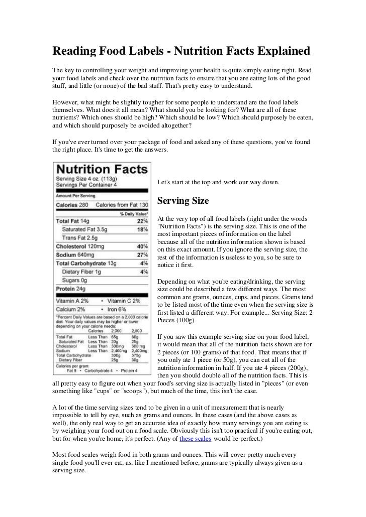 Reading Food Labels - Nutrition Facts ExplainedThe key to controlling your weight and improving your health is quite simpl...