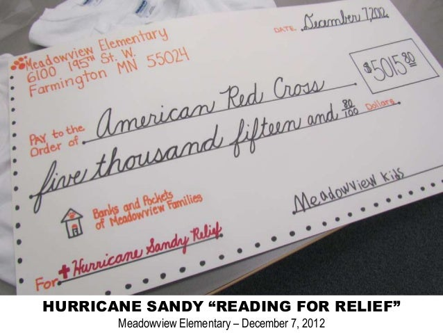 """HURRICANE SANDY """"READING FOR RELIEF""""       Meadowview Elementary – December 7, 2012"""
