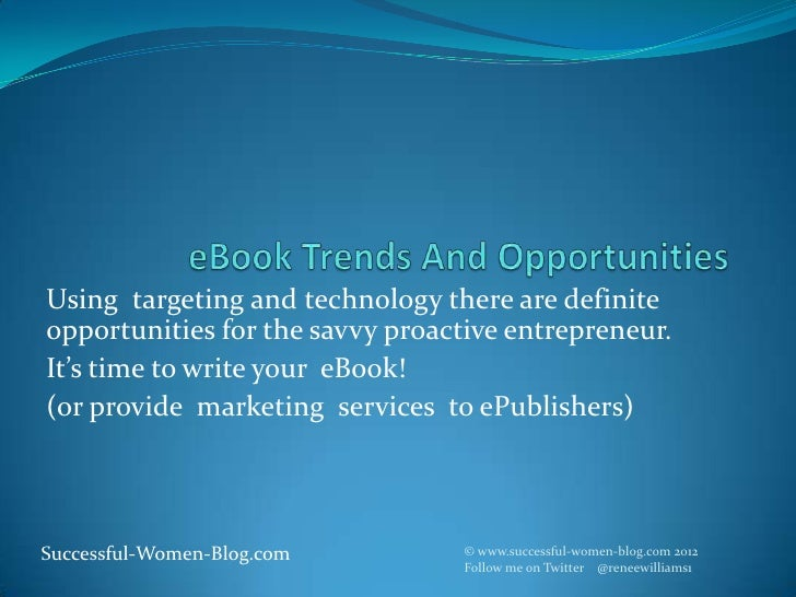 Using targeting and technology there are definiteopportunities for the savvy proactive entrepreneur.It's time to write you...