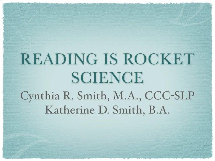 Reading Is Rocket Science Final