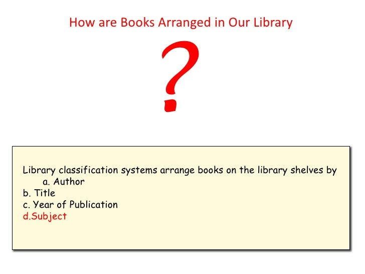 Classification of Book in The Library Library Classification Systems