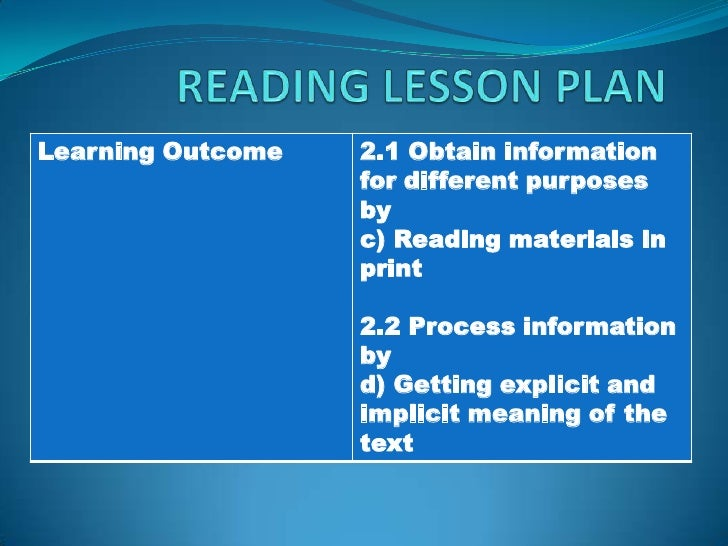 READING LESSON PLAN<br />