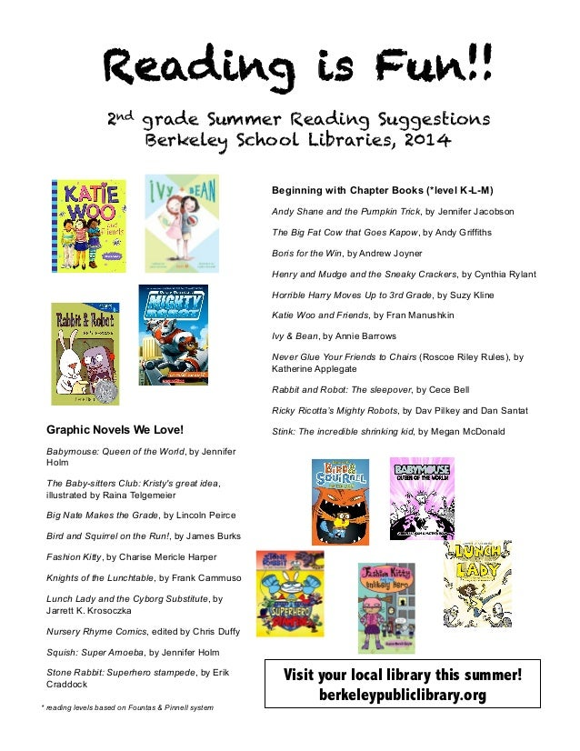 Reading is Fun!! 2nd grade Summer Reading Suggestions Berkeley School Libraries, 2014 	    Beginning with Chapter Books (*...
