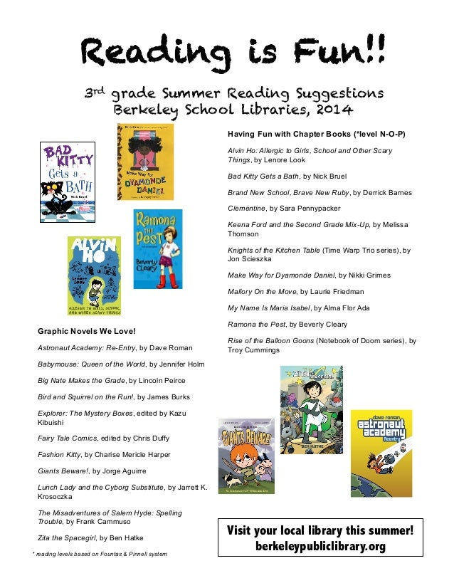 Reading is Fun!! 3rd grade Summer Reading Suggestions Berkeley School Libraries, 2014    Graphic Novels We Love! Astrona...