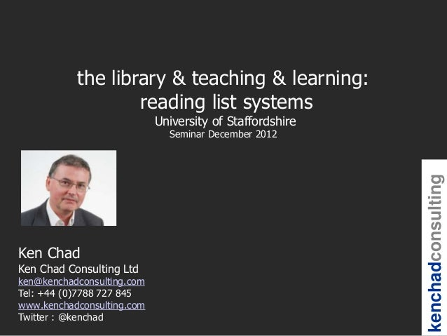 the library & teaching & learning:                   reading list systems                            University of Staffor...