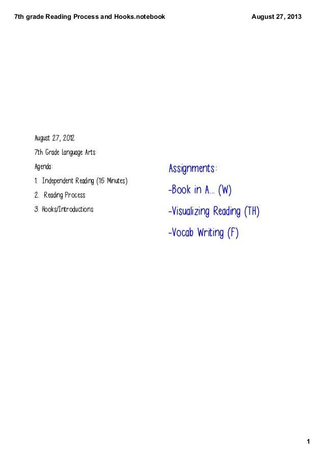 7thgradeReadingProcessandHooks.notebook 1 August27,2013 August 27, 2012 7th Grade Language Arts Agenda: 1. Independ...