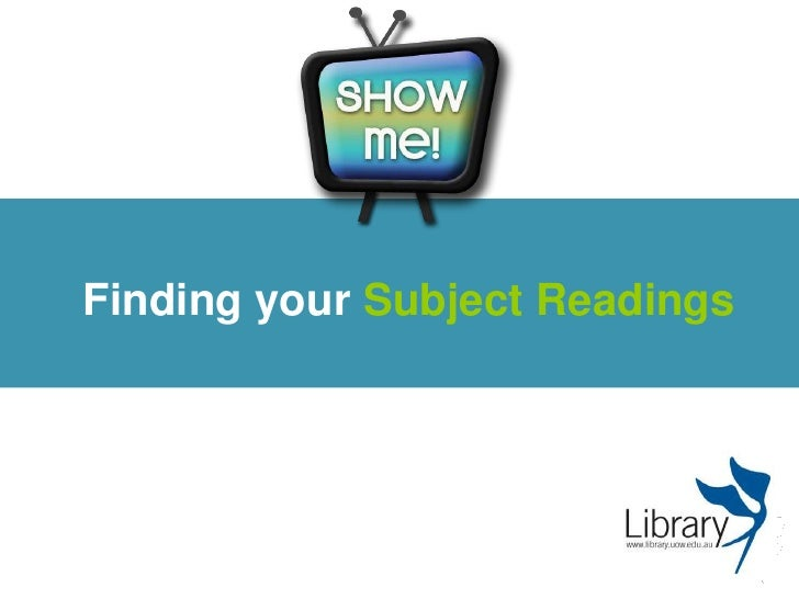 Finding your Subject Readings<br />