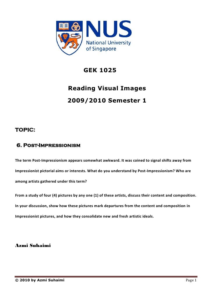 GEK 1025                                 Reading Visual Images                               2009/2010 Semester 1    TOPIC...