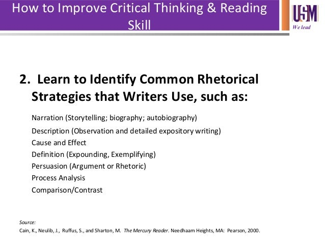 application of critical thinking skills in reading and writing Massey university library as the ability to read between the lines, both when reading the work of others and when writing your critical thinking skills.