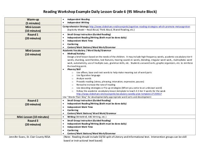 Reading workshop example daily lesson grades 6