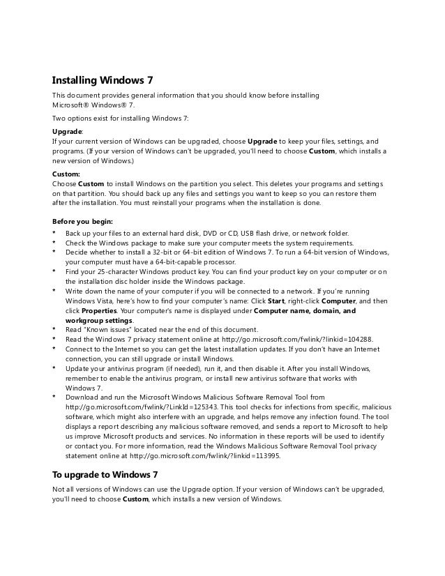 Installing Windows 7This document provides general information that you should know before installingMicrosoft® Windows® 7...