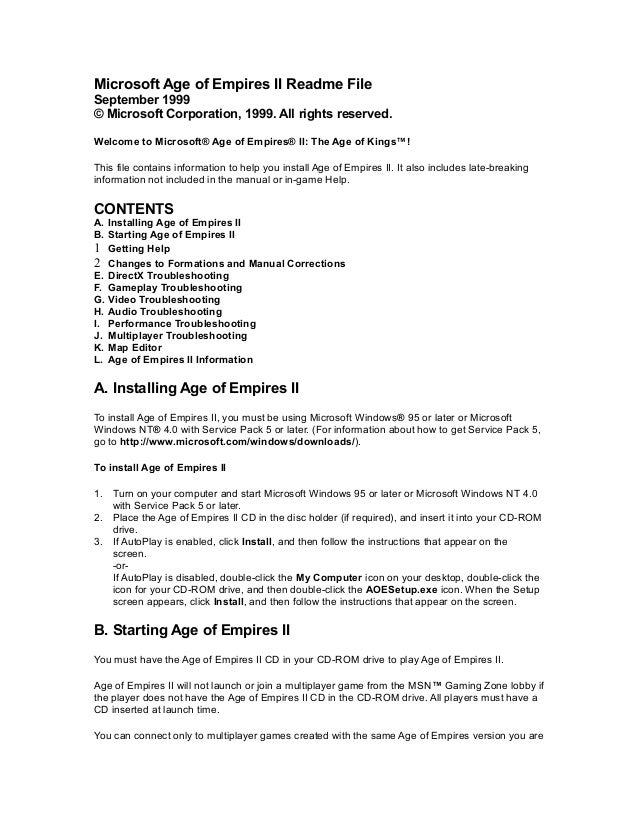 Microsoft Age of Empires II Readme File September 1999 © Microsoft Corporation, 1999. All rights reserved. Welcome to Micr...