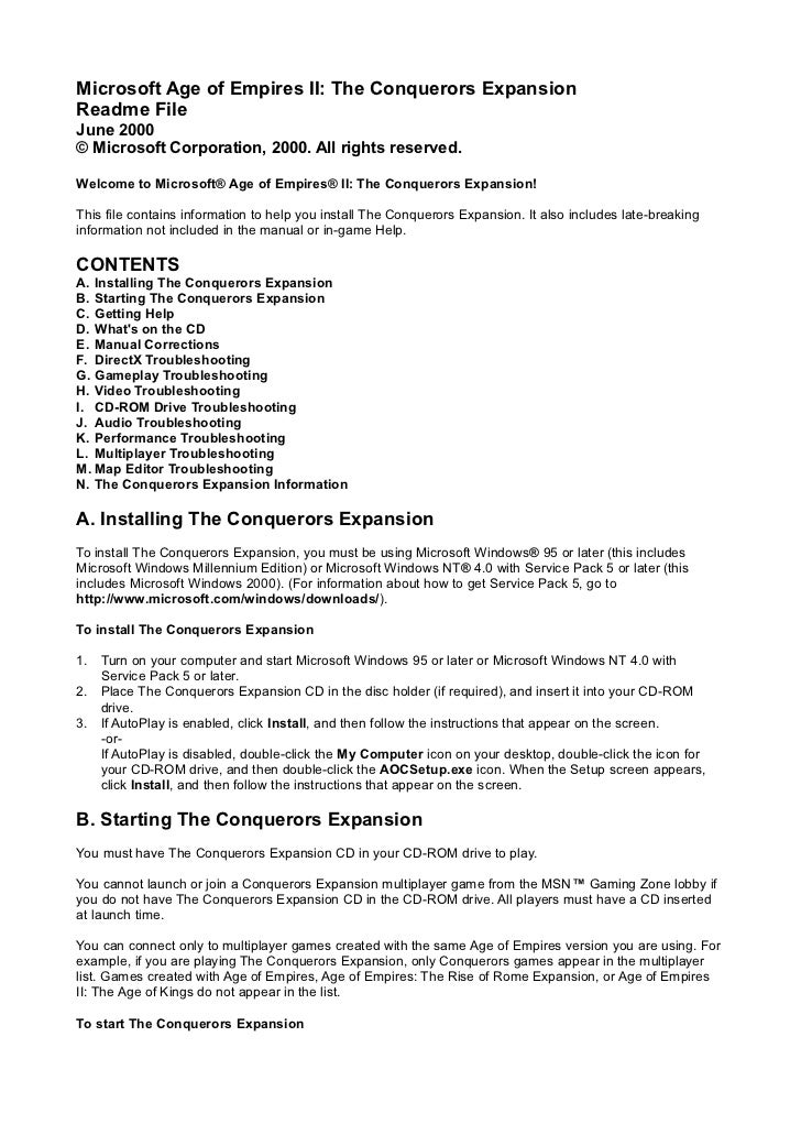 Microsoft Age of Empires II: The Conquerors ExpansionReadme FileJune 2000© Microsoft Corporation, 2000. All rights reserve...