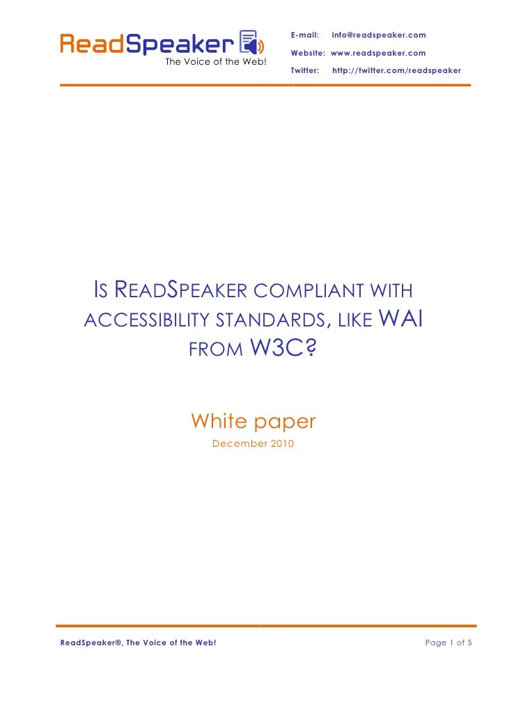 ReadSpeaker compliant with accessibility standards (1)