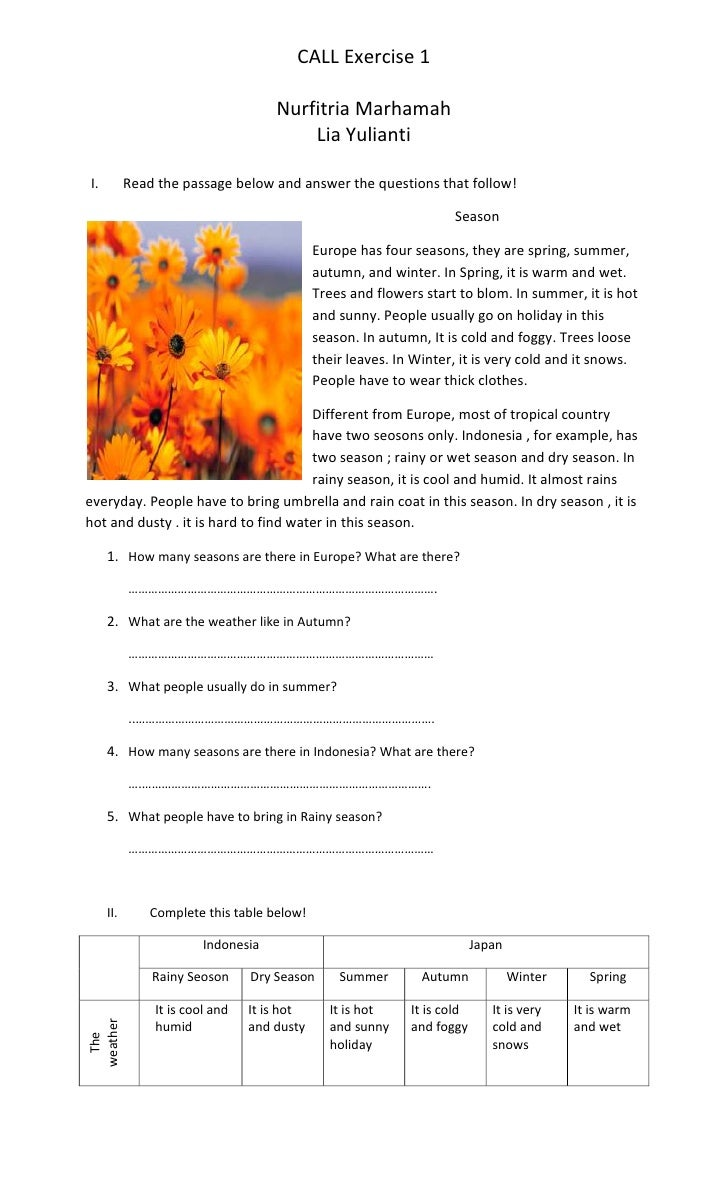 Worksheets Read The Passage read the passage below and answer questions that follow call exercise 1