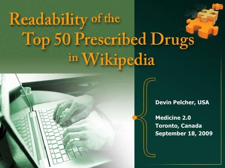 Readability of the Top 50 Prescribed Drugs in Wikipedia