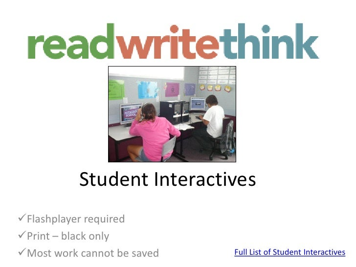 Read writethink student interactives