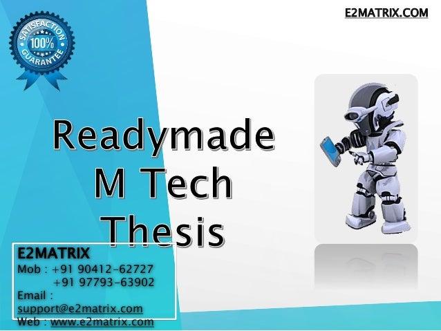 M tech dissertation