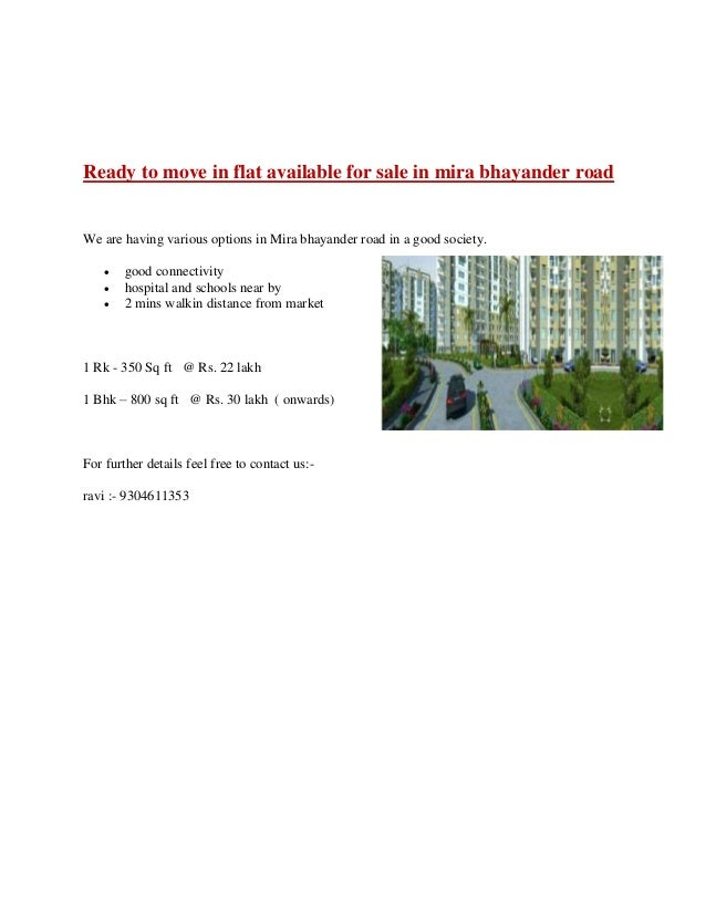 Ready to move in flat available for sale in mira bhayander road We are having various options in Mira bhayander road in a ...