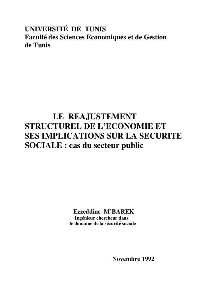 UNIVERSITÉ DE TUNIS Faculté des Sciences Economiques et de Gestion de Tunis           LE REAJUSTEMENT STRUCTUREL DE L'ECON...