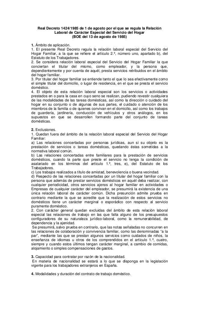 Real Decreto 1424/1985 de 1 de agosto por el que se regula la Relación             Laboral de Carácter Especial del Servic...