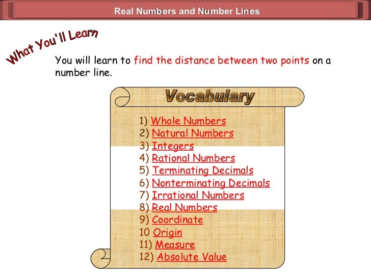 Real Numbers and Number Lines You will learn to  find the distance between two points  on a number line. What You'll Learn...