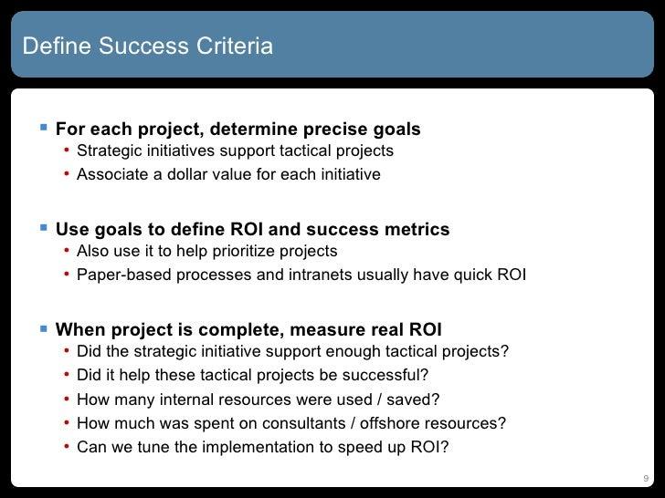 project management success criteria template