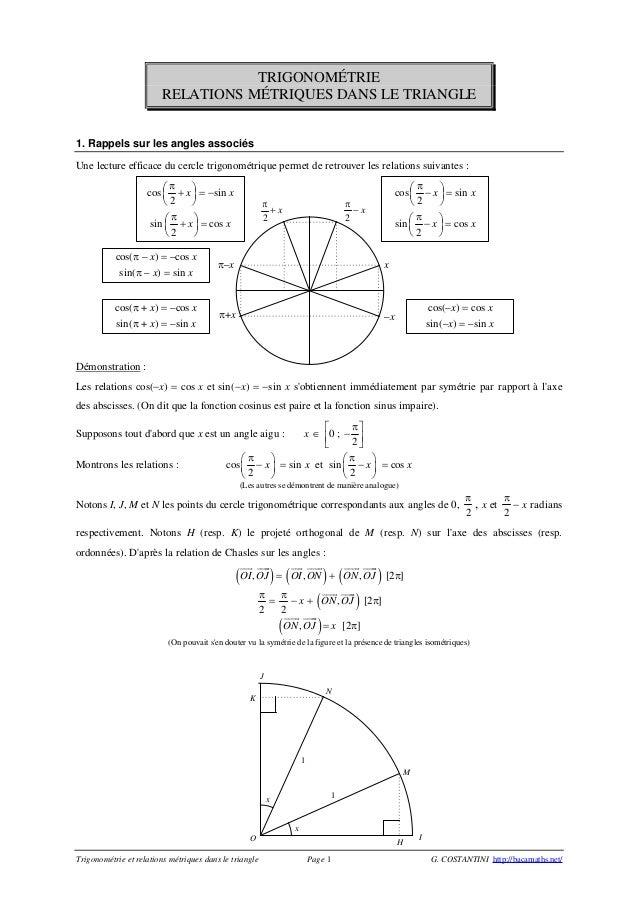 Trigonométrie et relations métriques dans le triangle Page 1 G. COSTANTINI http://bacamaths.net/ TRIGONOMÉTRIE RELATIONS M...