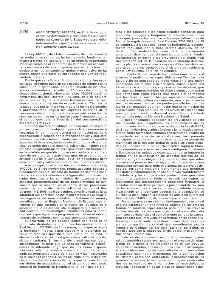 Real Decreto MIR 2008