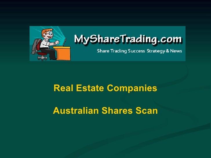 Real Estate Companies Australian Shares Scan
