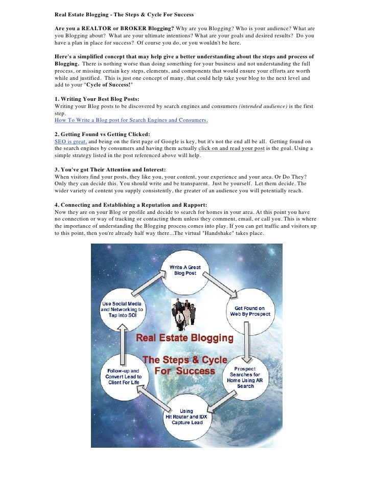Real Estate Blogging - The Steps & Cycle For Success  Are you a REALTOR or BROKER Blogging? Why are you Blogging? Who is y...