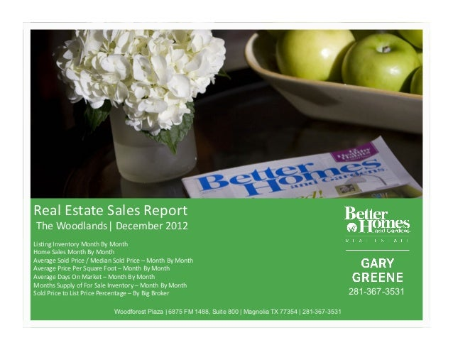 Real%Estate%Sales%Report%%The%Woodlands %December%2012%Lis<ng%Inventory%Month%By%Month%Home%Sales%Month%By%Month%%Average%...