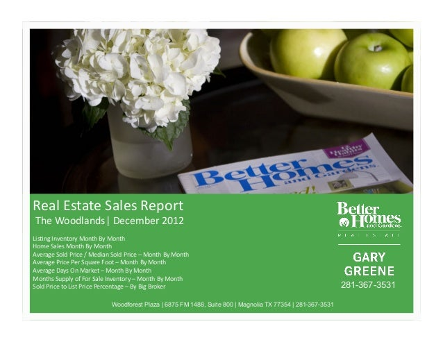 Real%Estate%Sales%Report%%The%Woodlands|%December%2012%Lis<ng%Inventory%Month%By%Month%Home%Sales%Month%By%Month%%Average%...